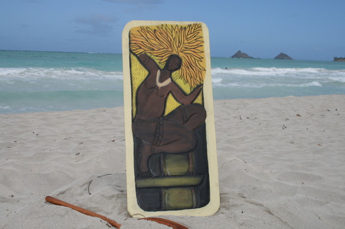 """THE HAWAIIAN WARRIOR, GOD OF THE SUN"" 30"" X 15"" - PRIMITIVE TIKI ART"