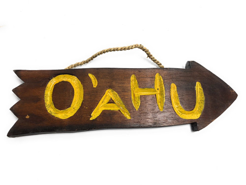 "Oahu Arrow Driftwood Sign 12"" - Tropical Decor | #dpt529030"