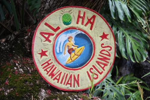 """""""ALOHA HAWAIIAN ISLANDS"""" VINTAGE SURF SIGN - 16"""""""