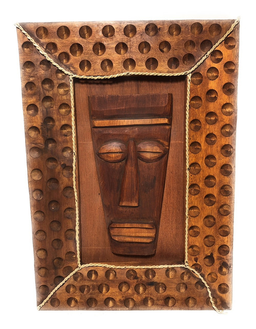 "Papua Mask w/ Carved Wooden Frame 22"" X 15"" - Tiki Bar Decor 