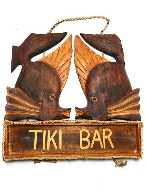 "Kissy Fish Tiki Bar Sign 15"" - Tropical Accents Antique Finish | #dpt5080"