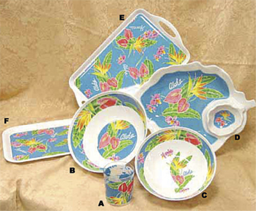 PLASTIC TIKI BAR BIRD OF PARADISE DISH SET - LUAU PARTY