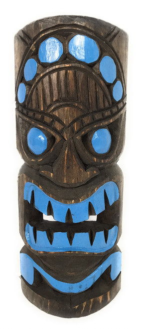 "Deep Blue Tiki Mask 12"" - Hand Carved/Painted 