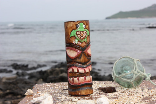 "Tiki Totem 5"" w/ Honu Hawaii - Hand Carved & Painted"