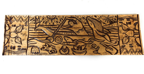 "Canoe Paddler Hawaiian Scene Wood Panel 40"" X 12"" King Kamehameha - Polynesian Wall Art 