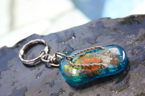 Slippa' Keychain w/ Inlay Sea Life - Blue