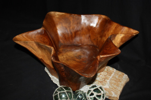"Flower Wooden Bowl Sculpture 23"" x 24"" x 12"" - Home Decor Teak Root Designer"