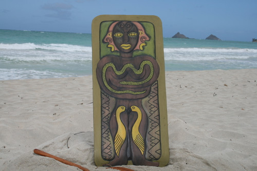 """THE HAWAIIAN CHIEF, HUMAN STRENGTH"" 30"" X 15"" - PRIMITIVE TIKI ART"
