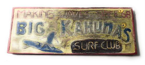 """Big Kahunas Surf Club"" Surf Sign 12"" 