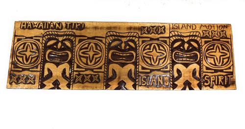 "Tiki Relief Hawaiian Tiki, Island Motion Wood Panel 40"" X 12"" King Kamehameha - Polynesian Wall Art | #dpt5029100"