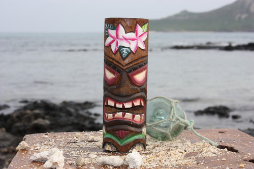 "Tiki Totem 6"" w/ Flowers - Hand Carved & Painted"