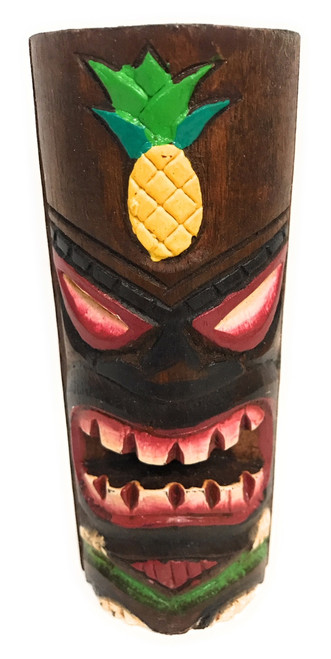 "Tiki Totem 6"" w/ Pineapple - Hand Carved & Painted 