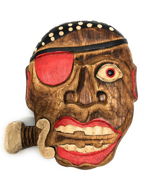 "Pirate w/ Knife Wall Plaque 8"" - Decorative Pirate Mask 