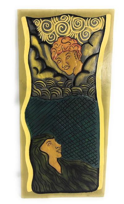 "Hawaiian God: Pele & Maui 30"" X 15"" - Polynesian Art Wall Hanging | #dpt519675"