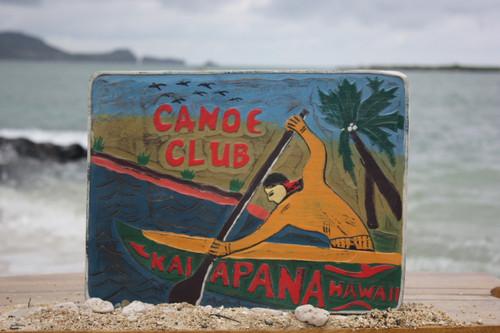 """CANOE CLUB, KALAPANA HAWAII"" VINTAGE OUTRIGGER CANOE SIGN - 16"""