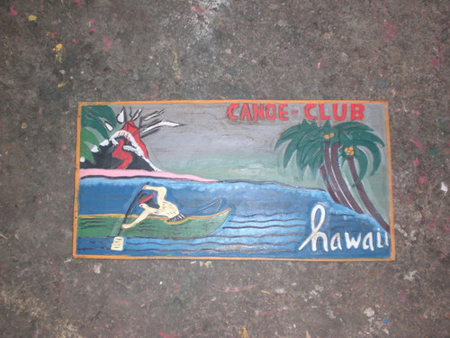 """CANOE CLUB, HAWAII"" W/ VOLCANO VINATGE WOOD SIGN 24"""