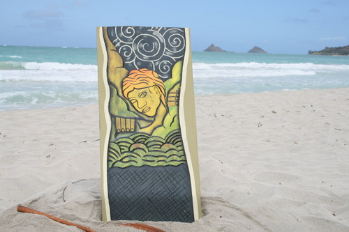 """OVER THE RAINBOW, GOD MAUI"" 30"" X 15"" - PRIMITIVE TIKI ART"