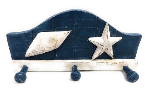 "Seashell Hanger W/ 3-Pegs 12"" - Rustic Coastal Decor | #Ata1801428b"