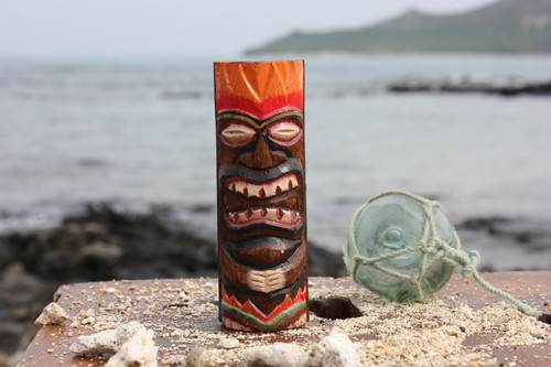 "Tiki Totem 6"" w/ Lava Hawaii - Hand Carved & Painted"