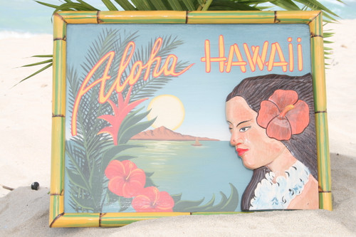 "VINTAGE SIGN ""ALOHA, HAWAII"" HULA - 24"" X 16"" HAWAIIAN SURF DECOR"