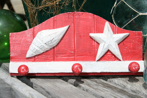 """SEA SHELL"" HANGER - RUSTIC RED NAUTICAL 12"" - NAUTICAL DECOR"