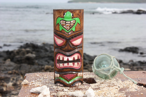 "Tiki Totem 6"" w/ Honu Hawaii - Hand Carved & Painted"