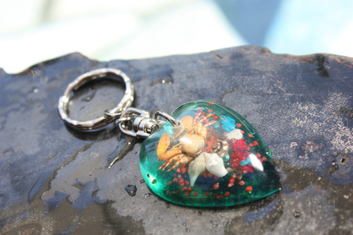Heart Keychain w/ Inlay Sea Life - Green