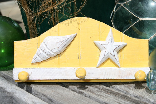 """SEA SHELL"" HANGER - RUSTIC YELLOW NAUTICAL 12"" - NAUTICAL DECOR"