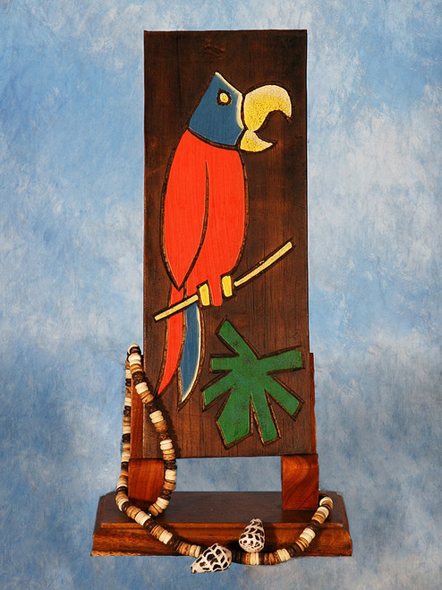 """""""PARROT & PALM LEAF"""" RELIEF - 12"""" CARVED & PAINTED - TROPICAL DECOR"""