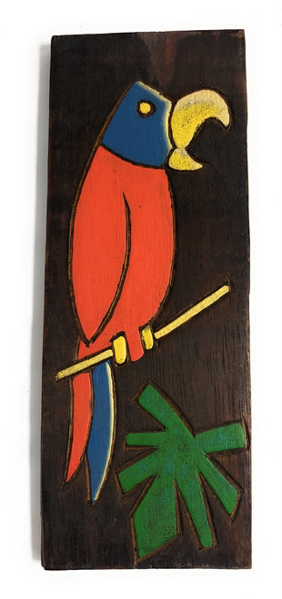 """Parrot & Palm Leaf Relief 12"""" X 5"""" - Wall Art Wood Panel 