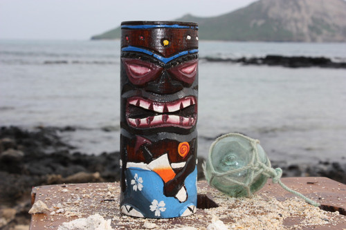 "Tiki Totem 6"" w/ Mai Tai Cocktail - Hand Carved & Painted"