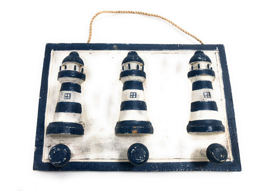 """Lighthouse Hanger 10"""" w/ 3 Pegs - Rustic Blue Nautical Accent 