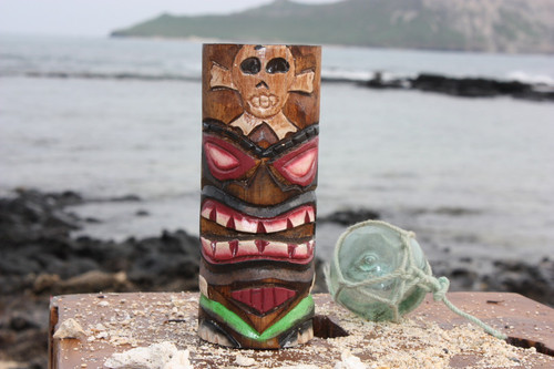 "Tiki Totem 6"" w/ Cross Bones - Hand Carved & Painted"