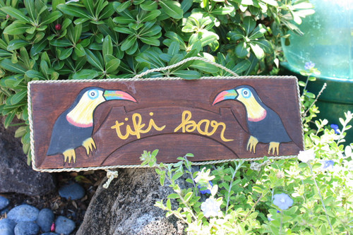 "PARROT ""TIKI BAR"" SIGN - 20"" NAUTICA PIRATE"
