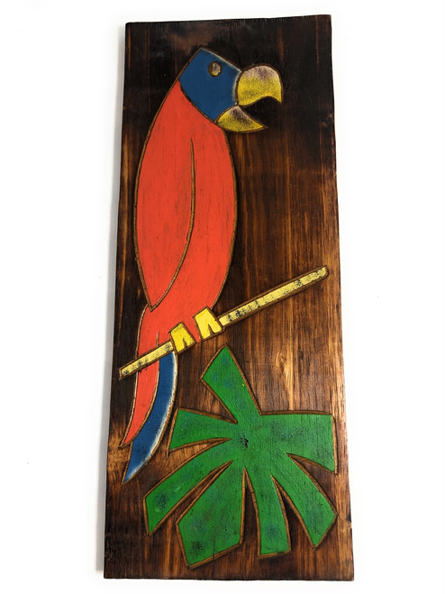 """Parrot & Palm Leaf Relief 20"""" X 8"""" - Wall Art Wood Panel 