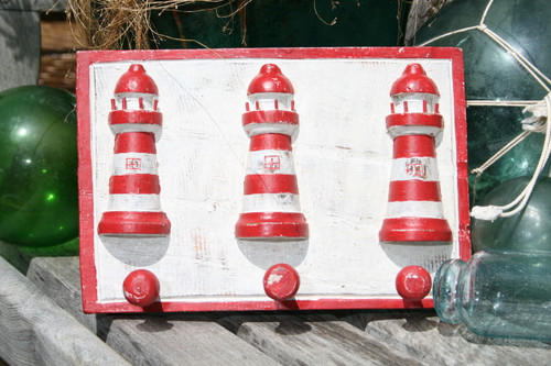 """LIGHTHOUSE"" HANGER - RUSTIC RED NAUTICAL 12"" - NAUTICAL DECOR"