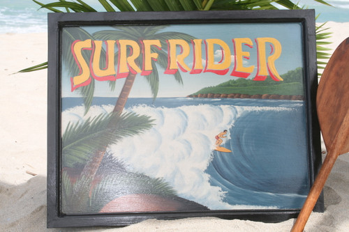 "VINTAGE SIGN ""SURFRIDER"" PIPELINE - 24"" X 16"" HAWAIIAN SURF DECOR"