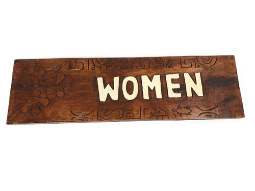 "Women Bathroom Sign 24"" w/ Plumeria Flowers - Restaurant 