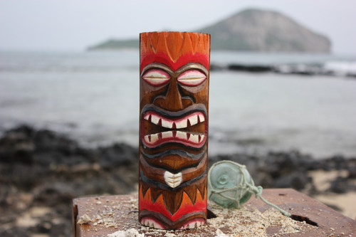 "Tiki Totem 8"" w/ Lava Hawaii - Hand Carved & Painted"