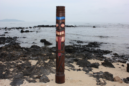 "Big Kahuna Chief Tiki Totem 63"" - Hand Painted & Carved"