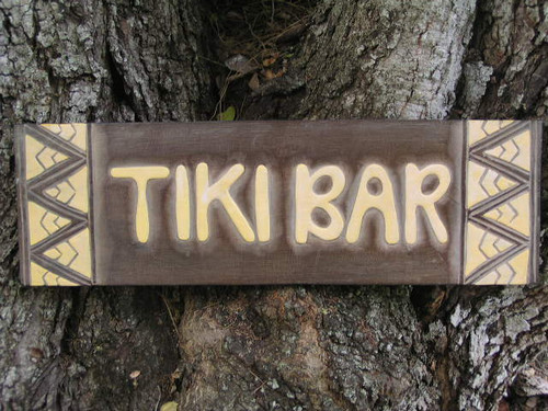 "Tiki bar Sign w/ Tribal Design 24"" - Hand Carved 