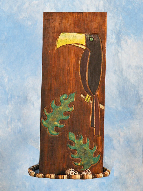 """""""BIRD & MONSTERA LEAF"""" RELIEF - 12"""" CARVED & PAINTED - OCEANIC ART"""