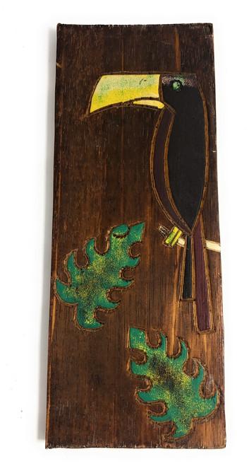 "Toucan Bird & Monstera Leaf Relief 12"" X 5"" - Wall Art Wood Panel | #dpt516330"