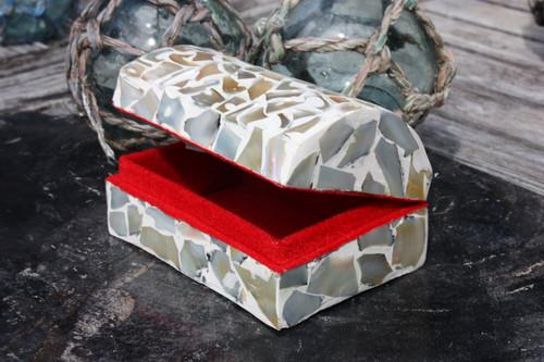 Seashell Keepsake Box Medium - White - Coastal Decor