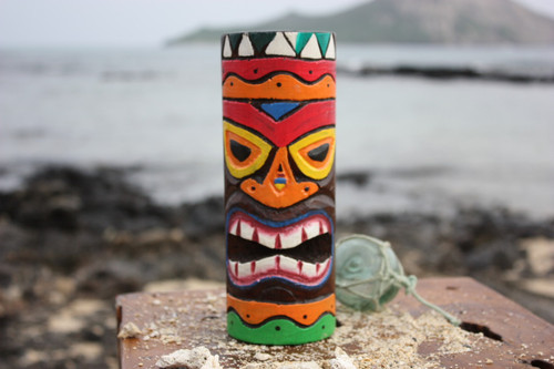 "Tiki Totem 8"" w/ Tribal Hawaii - Hand Carved & Painted"