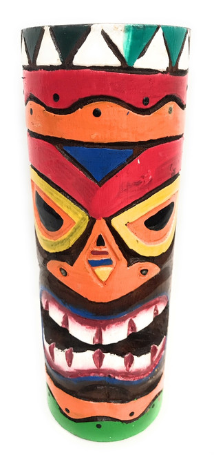"Tiki Totem 8"" w/ Tribal Hawaii - Hand Carved & Painted 
