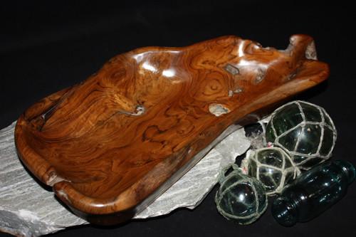 "Wooden Bowl Sculpture 15.5"" - Home Decor Teak Root Designer 4"