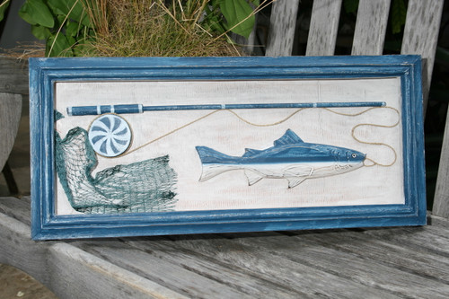 """""""FISHING GEAR"""" SHADOW BOX - RUSTIC BLUE COASTAL 22"""" - COASTAL DECOR"""