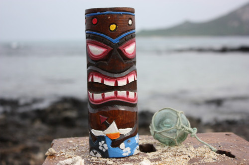 "Tiki Totem 8"" w/ Mai Tai Cocktail - Hand Carved & Painted"