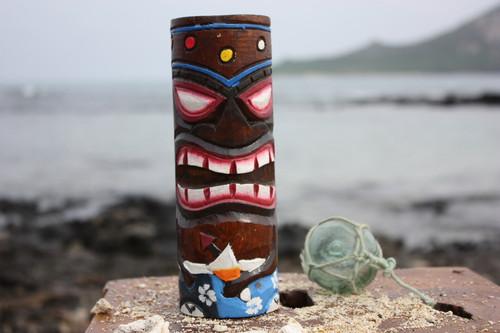 """Tiki Totem 8"""" w/ Mai Tai Cocktail - Hand Carved & Painted"""